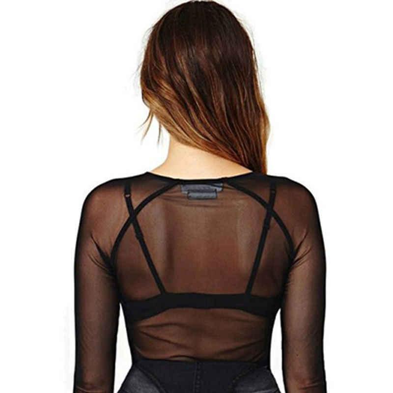 Женская Прозрачная Футболка с вырезом лодочкой, сексуальная женская футболка, прозрачная сетчатая облегающая футболка с длинным рукавом, Повседневная футболка черного цвета