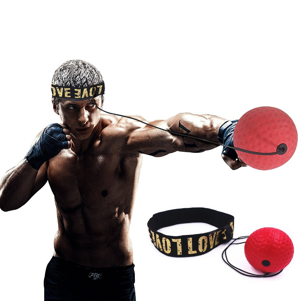 Boxing Reflex Speed Punch Ball Sanda Boxer Raising Reaction Force Hand Eye Training Set Stress Reaction Ball Red