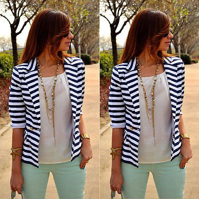 New Fashion Women Striped Slim  Coats Casual Business Suit Jacket Outwear Women Clothes L