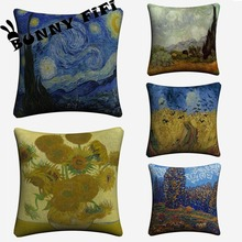 Van Gogh Decorative Pillow Covers For Sofa Home Decor Linen Cushion Case 45x45cm Throw Pillow Cases new year buck flower bird decorative pillow covers for sofa home decor linen cushion case 45x45cm throw pillow cases