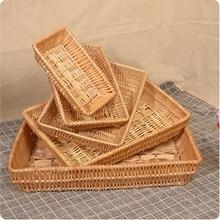 Wicker System Willow Weaving Rattan Rectangular Fruit Bread Vegetables Display Breadbasket Storage Basket