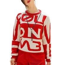 цены на Autumn And Winter Red Sweater Female 2018 New Round Neck Long-sleeved Wooden Ear Letter Loose Pullover Women Upper Garment HJ86  в интернет-магазинах