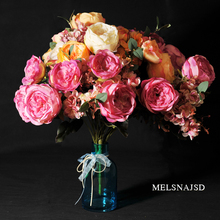 artificial flowers melsnajsd a bundle of 13 silk flower european  fall vivid peony fake Leaf wedding home party decoration
