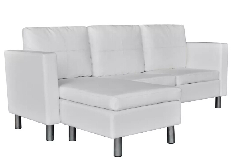 VidaXL Sectional 3 Seater Sofa Synthetic Leather White Includes 1 L ...