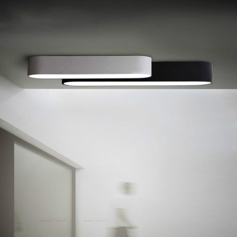 Long Strip Oval LED Ceiling Lighting Black White Corridor