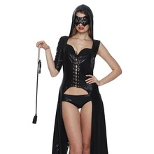Hooded Suit Cape Performance Nightclub Dance Adult Patent Leather Adult Sexy Woman Role Pl