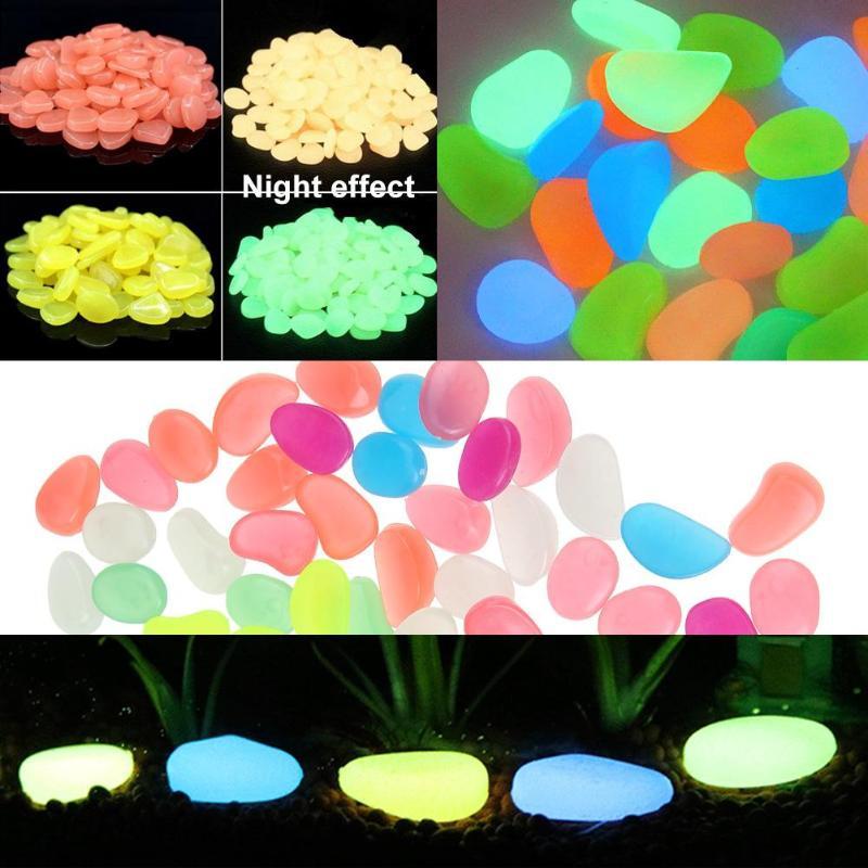 100pcs Luminous Stones Glow in Dark Garden Decor Road Outdoor Fish Tank Decoration Pebble Rocks Aquarium