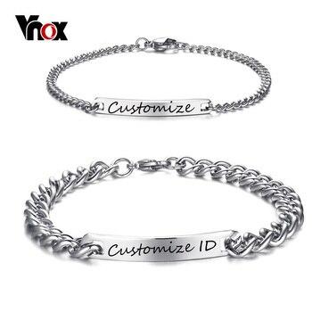 0a7eb8022704 Vnox grabado personalizado promesa pulsera de acero inoxidable de acero de  encantos de pulseras para Mujeres Hombres Pulseira