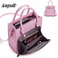 Aequeen 2019 Women Solid luxury Handbag Capacity Bag Multifunction Crossbody Bag Leather Shoulder Bag Feminine Bolsa Ladies Tote