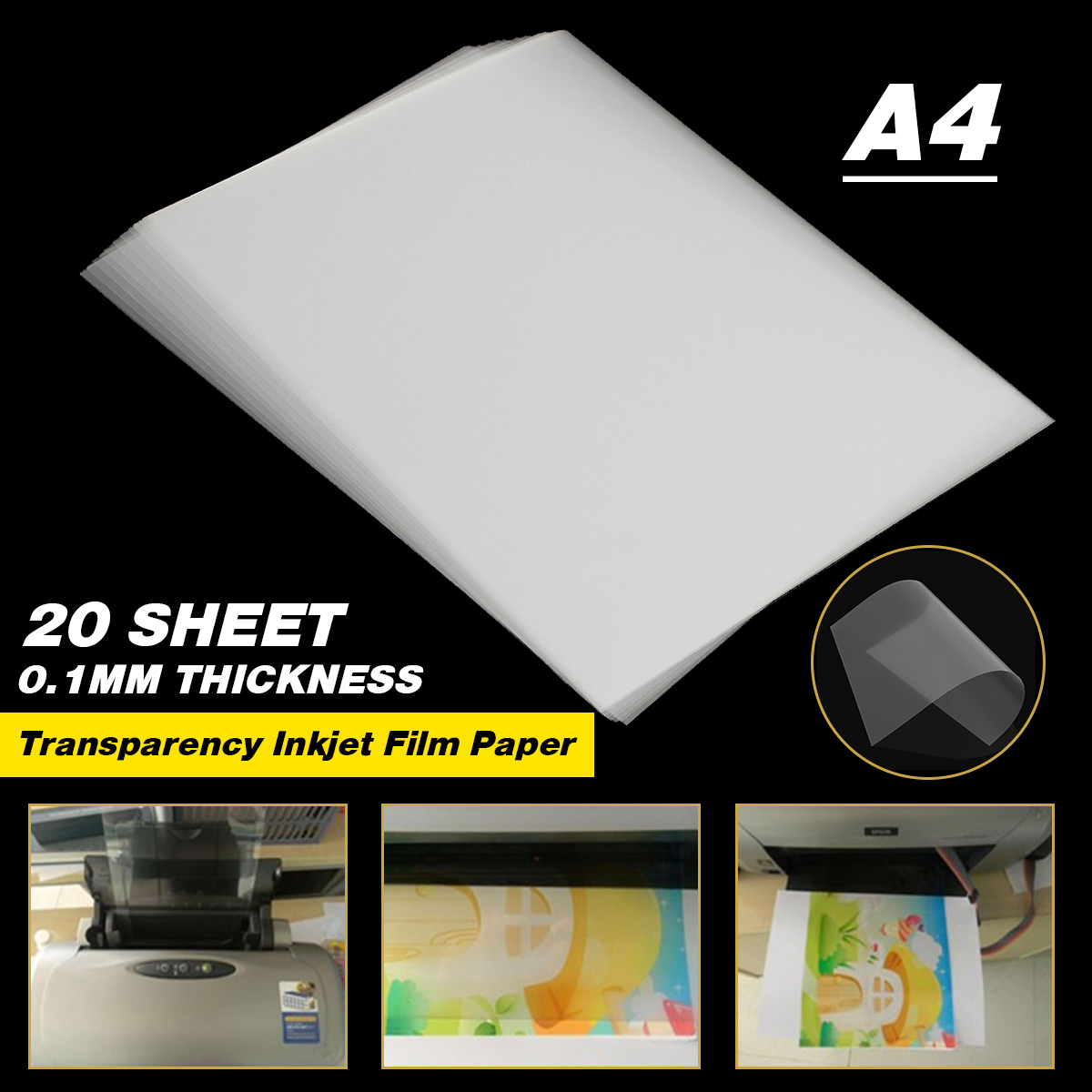 20 Sheet A4 Transparent Inkjet Film Paper Screen Printing Print Stencil Design Non-waterproof Thickness 0.12mm 29.6 X 21cm