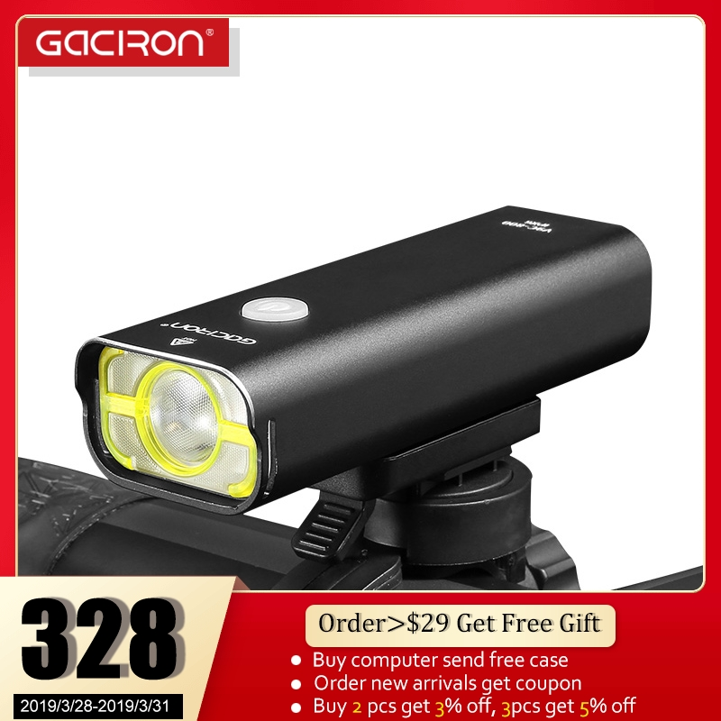 GACIRON Велоспорт велосипед передний свет USB Перезаряжаемый водонепроницаемый фонарик 5 режимов высокой Температура защиты велосипед светоди...