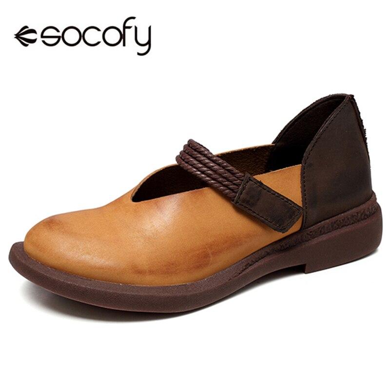 Socofy w stylu Vintage kobiety płaskie buty kobieta prawdziwej skóry łączenie Hook & Loop Retro Harajuku mieszkania damskie buty wiosna panie mieszkania w Damskie buty typu flats od Buty na  Grupa 1