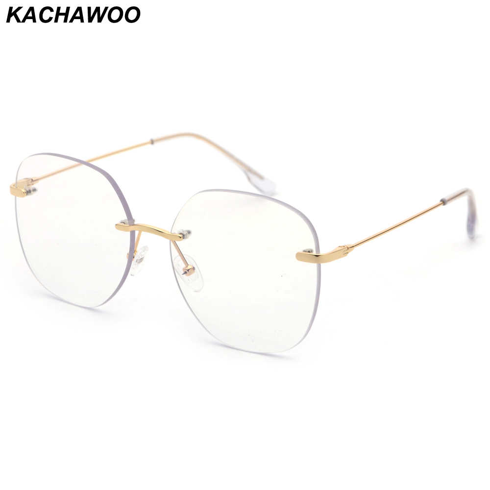 ab0aff6d02ab Kachawoo Clear Lens Rimless Glasses Frame Men Big Size Metal Optical Eyewear  Frames Women Gold Silver