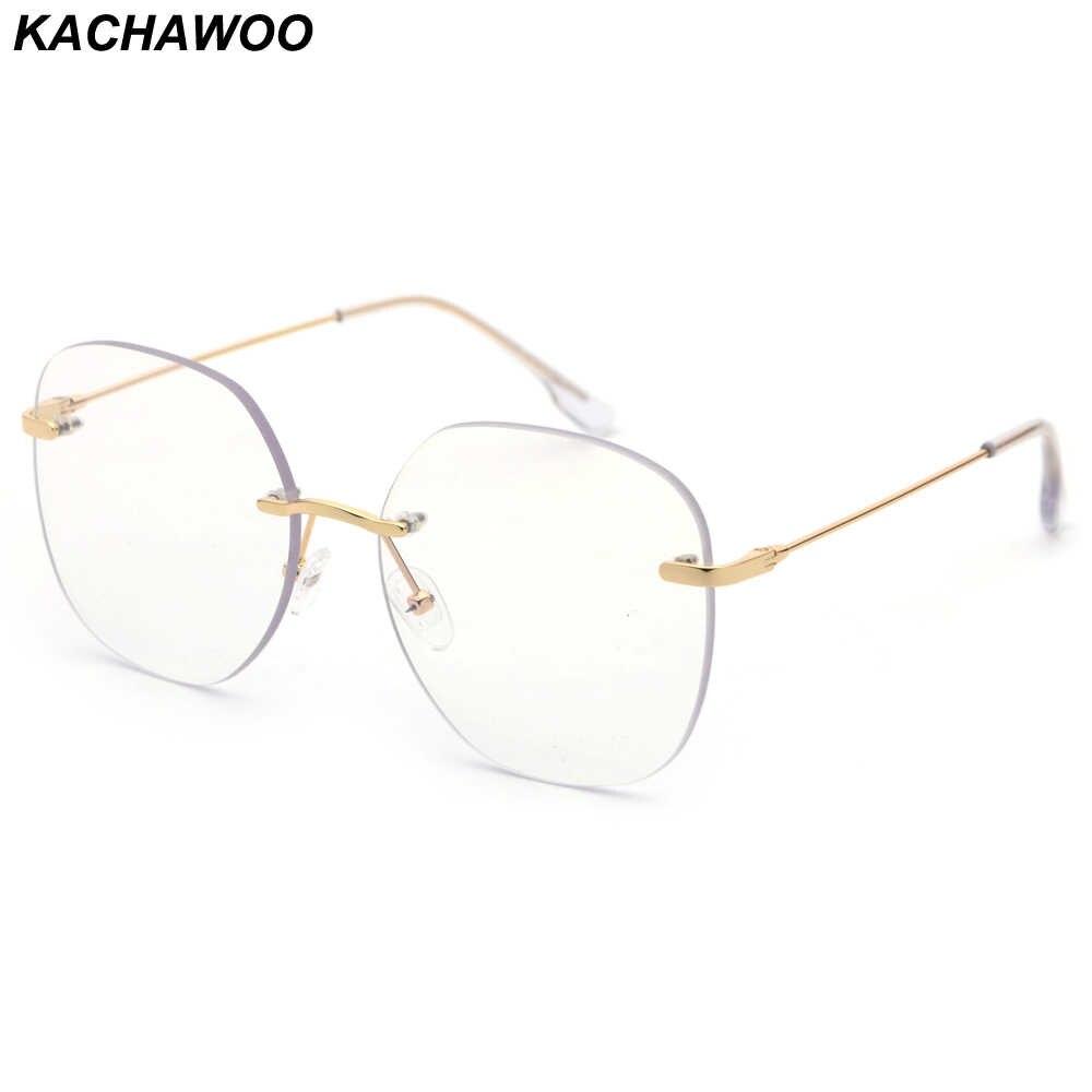 d4427fcdd3 Kachawoo Clear Lens Rimless Glasses Frame Men Big Size Metal Optical  Eyewear Frames Women Gold Silver