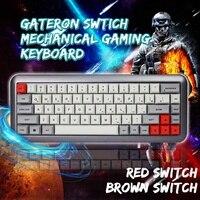 LEORY 68 Key переключатель gateron краситель суб клавишные колпачки pbt Hot swappable Механическая игровая клавиатура RGB подсветка