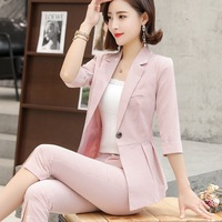 Fashion Woman Stripe Occupation Suit Dress Short Sleeve Small Solid Suit Single Buckle Loose Women's Clothing Two piece Set