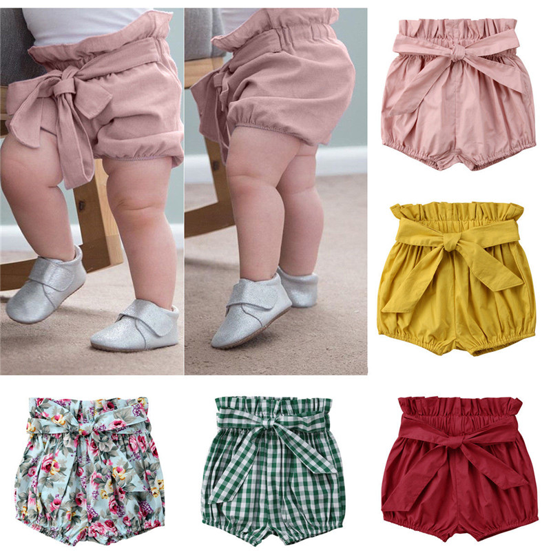 Cute Toddler Baby Girls Clothes Cotton PP Pants Elastic   Shorts   Diaper Nappy Bloomers Lace-up Bow Floral Plaid   Short   Panties 0-6T