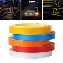 New Arrival 1pc 5M*1CM Car DIY Reflective Stripe Body Rim Self-Adhesive Sticker Tape 6Colors