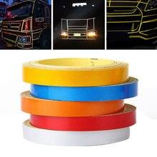 Nova chegada 1pc 5m * 1cm carro diy faixa reflexiva aro do corpo do carro auto-adesivo adesivo fita 6 cores