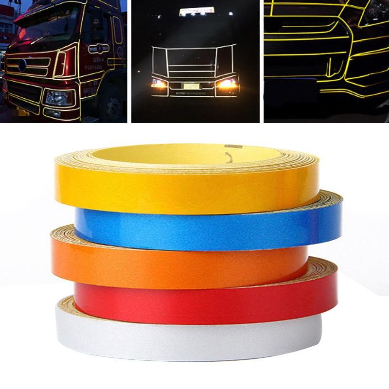 Nova chegada 1pc 5 m * 1 cm carro diy faixa reflexiva aro do corpo do carro auto-adesivo adesivo fita 6 cores