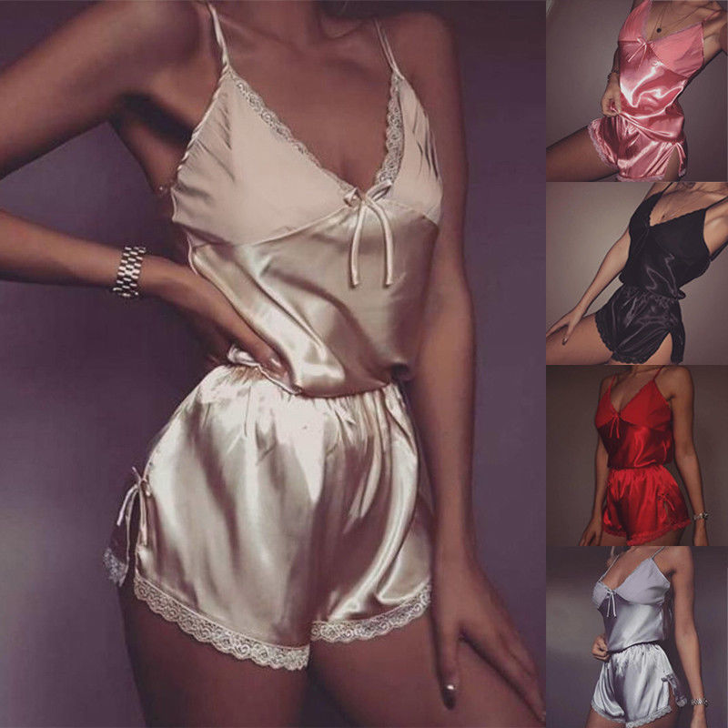 Womens Sexy V-Neck Lingerie Sleepwear Satin Silk Babydoll Lace Nightwear Pajamas Set Solid Soft Clothes
