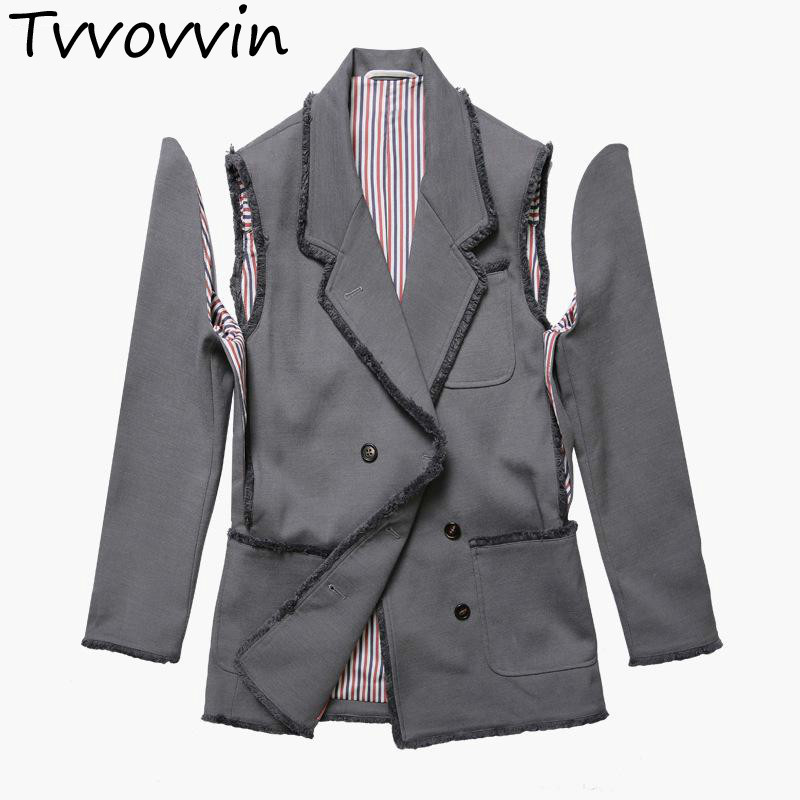 TVVOVVIN Double Breasted Blazer Suit Long Sleeves Split Womens Jackets Irregular Women Coat Autumn L310