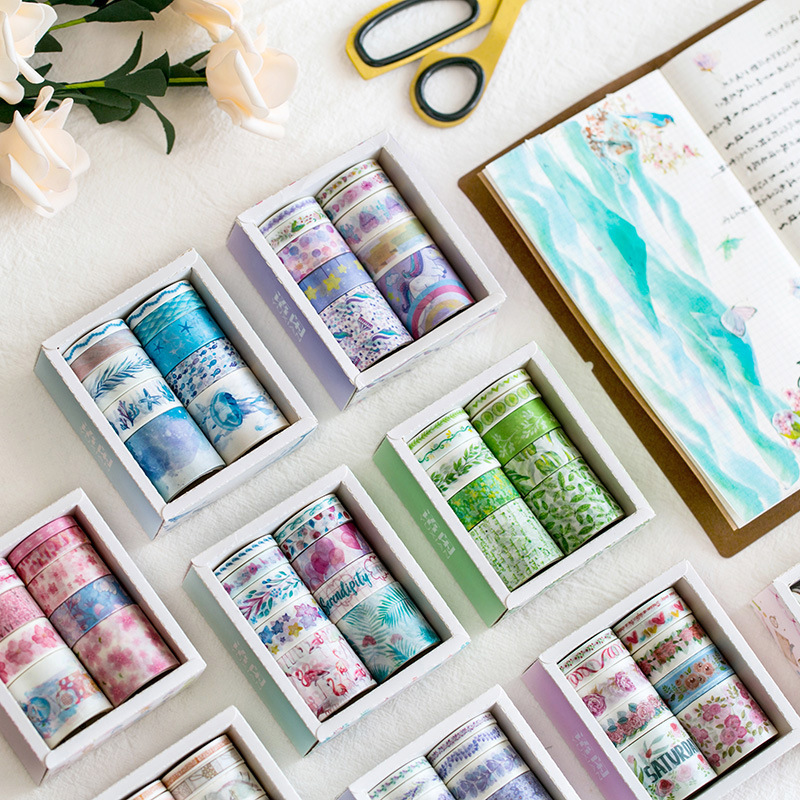 10pcs/lot Mini Sticky Paper Masking Washi Tape Set Sakura Ocean Stars Japanese Stationery Kawaii Scrapbooking Supplies Sticker