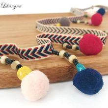 Lshangnn 5Yards 10 mm Ethnic Style Plush Ball Retro Lace Ribbon For DIY Sewing Accessories Headwear Or Handmade Decorative