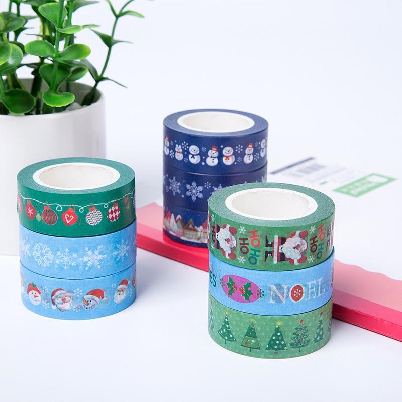 Christmas Tree Washi Tape Santa Claus Snowman Decorative Adhesive Masking Tape For Scrapbooking Diy Albums Xmas Material Escolar