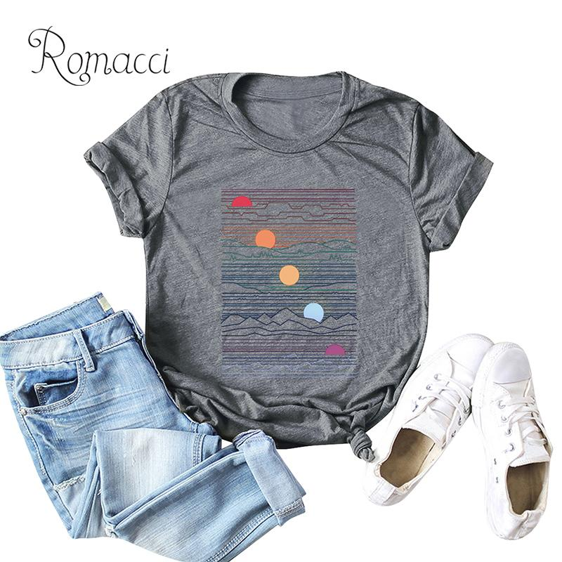 Romacci Fashion Women T-shirt Short Sleeves O Neck Sunrise Print Camisetas Mujer 5XL Plus Size Cotton Cool Tees Casual Tops 2019