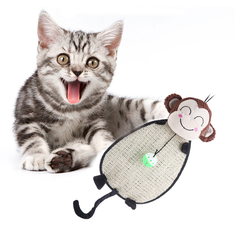 Pet Scratch Board Cat Dog Scratching Play Toy Pad Mat With Small Ball Tiger Monkey Shape Scratching Post Sisal Toy Pet Supplies in Toys from Home Garden