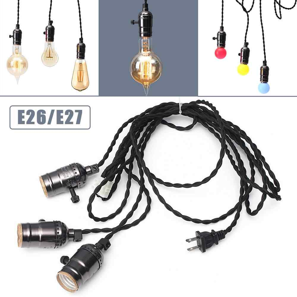 KINGSO Vintage Retro Edison Light Industrial Ceiling Filament Lamp Chandelier Pendant with 3 Socket Heads for E26/E27 Bulb