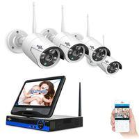 Hiseeu 4 шт. 1080 P Беспроводная CCTV WiFi ip камера 8CH видеонаблюдение NVR система набор обнаружения движения умный будильник комплект безопасности