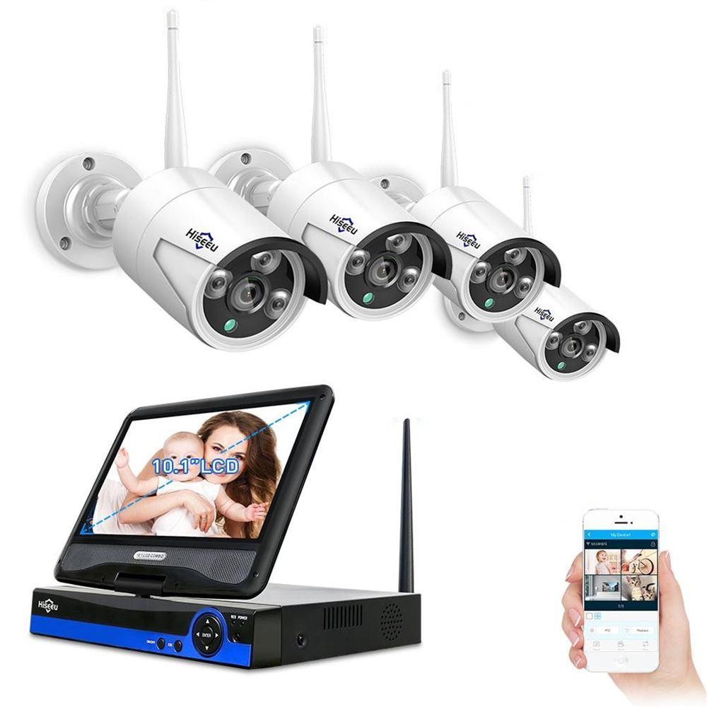 Hiseeu 4pcs 1080P Wireless CCTV WiFi IP Camera 8CH NVR Video Surveillance System Set Motion Detection Smart Alarm Security kit