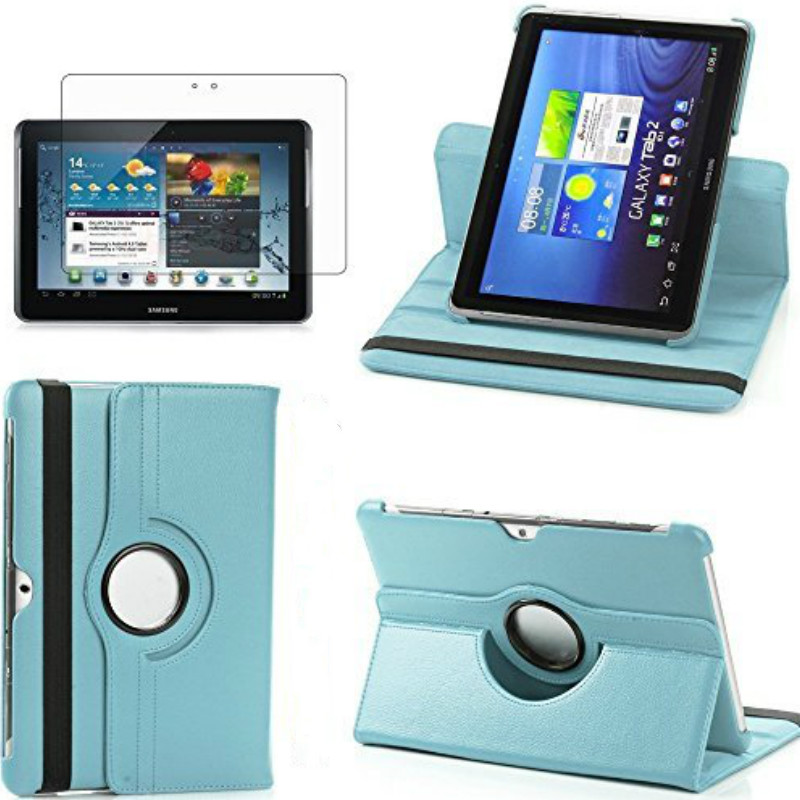 For Samsung Galaxy Tab 2 10.1 Case P5100 P5110 P7500 P7510 360 Rotating Smart Cover PU Leather Case Tempered Glass(Not  Free)