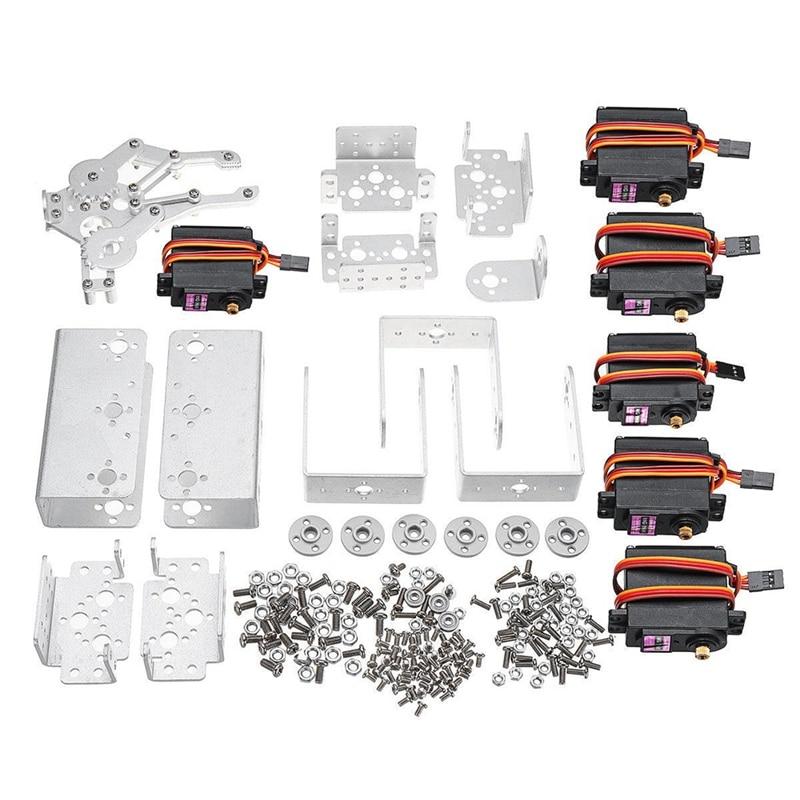 Home Aluminium 6dof Arm Mechanical Robotic Arm Clamp Claw Mount Kit W/servos Servo Horn For For Arduino-silver