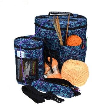 Przędza organizator szydełka duże torba z rączkami szydełka dziania akcesoria pusta torba do przechowywania przędzy sweter igły wełny akcesoria do szycia
