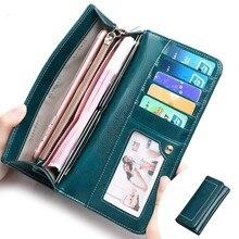 Купить с кэшбэком Fashionable Genuine Leather Wallet Women Wallets Long Zipper Purse Coin Pocket Clutch Money Bags Card Holder Carteira Feminina