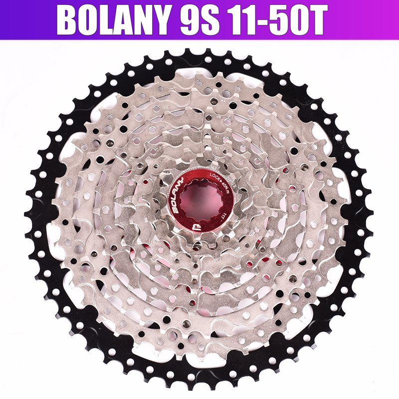 BOLANY 9 Speed Cassette 11 50T Mountain Bike Wide Ratio MTB Bicycle 9S Freewheel Compatible with