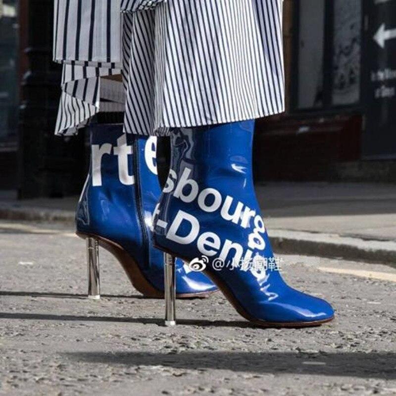 Cuir Orteil Carré Talon Pour En De Show 2018 Chaussures Bottines Bleu Mode As Haute Marque Chaussons Bottes Léger Femmes Dames Stiletto Verni erCodxB