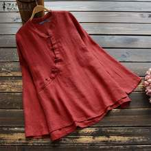 2019 ZANZEA Women Tops and Blouses Casual Long Sleeve Tunic Vintage Chinese Style Solid Shirt Womens Clothing Plus Size 5XL