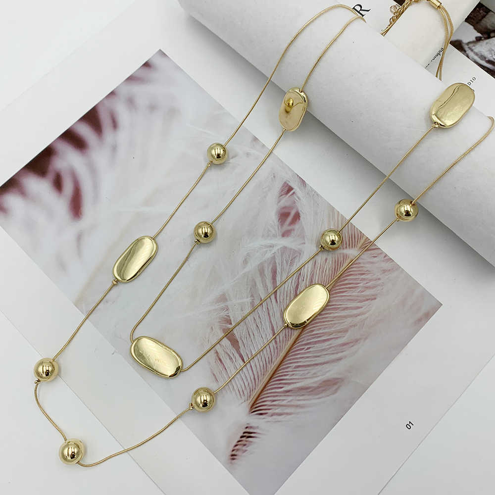Double Layers Chain Necklace Beads Long Necklace For Women Bijoux New Fashion Jewelry Fine Gifts For Mother