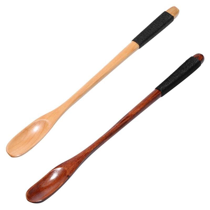 Long Handle Spoon Wood Rice Soup Dessert Coffee Tea Dessert Mixing Soup Winding Spoon Flower Spoon Kitchen Accessories