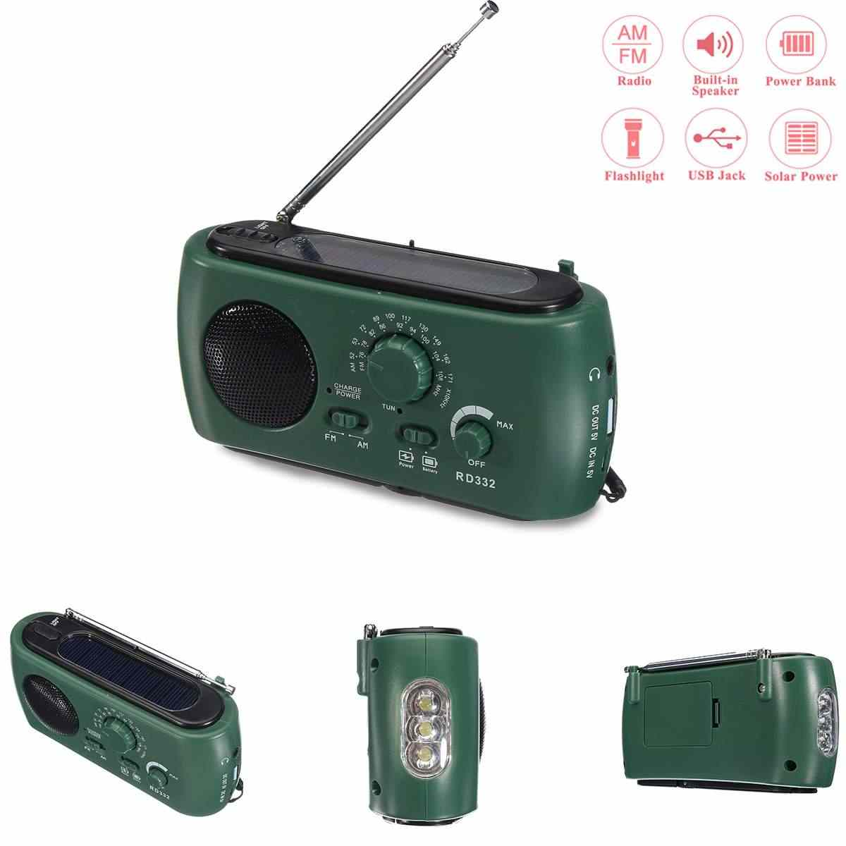 緊急ポータブルソーラークランク AM/FM 天気 led 懐中電灯携帯充電インターフェース