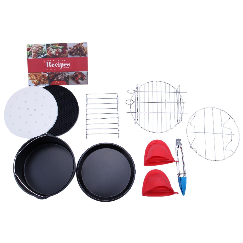 Air Fryer Accessories Set of 10 pcs, Fit all Standard Air Fryer 3.7QT- 5.3QT- 5.8QT, 7 Inch