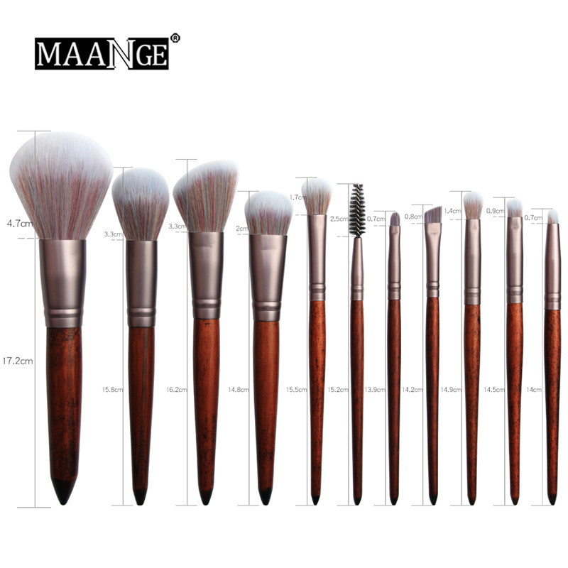 11Pcs Squirrel hair Makeup Brushes Set Cosmetic Foundation Powder Blush Eye Shadow Lip Blend Wooden Make Up Brush Tool Maquiagem in Eye Shadow Applicator from Beauty Health