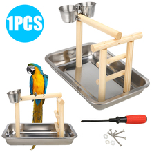 1PC Stainless Steel Pet Bird Playstand Parrots Playground Perch Gym Training Stand Toys Funny and Colorful Activity Toy