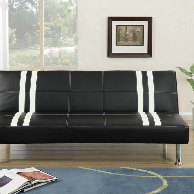 Adelmo Faux Leather Adjustable Sofa In Black
