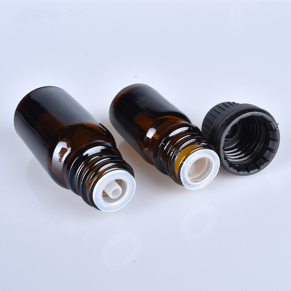 200pcs/lot 5/10/15/20/30/50/100ML Travel Empty Small Amber Boston Round Glass Essential Oil Bottle Reducer Tamper Evident Cap