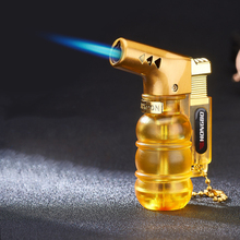 цена на Visible Gas Butane Jet Lighter Turbine Torch Lighter Fireproof Windproof Spray Gun Metal Lighter 1300 C Gas Free Cigarette Acces
